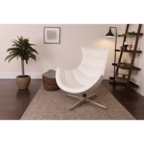 Our Creamy White LeatherSoft Swivel Cocoon Chair is on sale now.