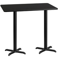 30'' x 60'' Rectangular Black Laminate Table Top with 22'' x 22'' Bar Height Bases