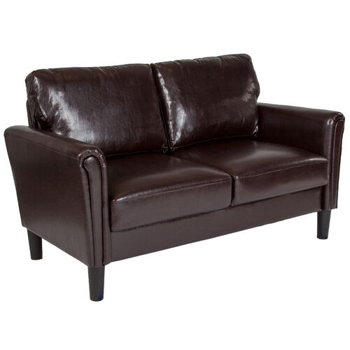 Our Bari Upholstered Loveseat in Brown LeatherSoft is on sale now.