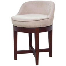 Swivel Chair with Microfiber Seat and Wood Legs - Beige and Cherry
