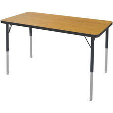 MG Series Teen Height Adjustable Rectangular Activity Table - Solar Oak Top with Black Edge and Legs - 60