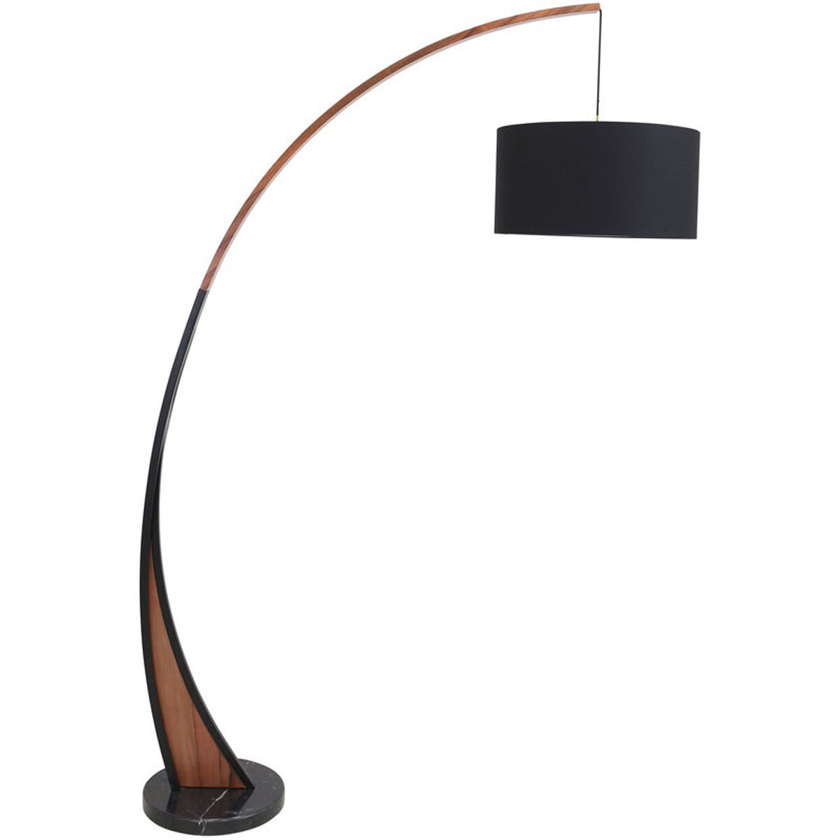 Our Noah Mid Century Modern Floor Lamp With Marble Base Black Is On