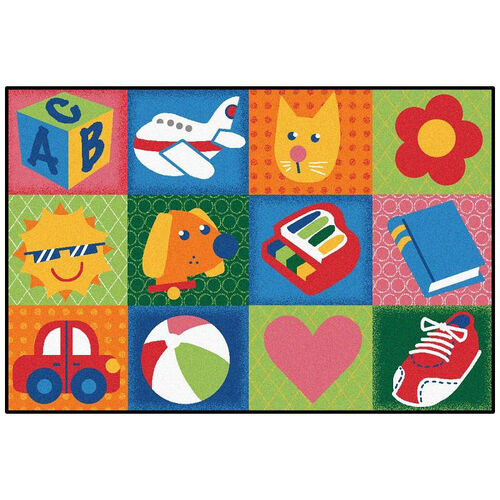 Our Kids Value Toddler Fun Squares Rectangular Nylon Rug - 36