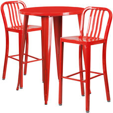 """Commercial Grade 30"""" Round Red Metal Indoor-Outdoor Bar Table Set with 2 Vertical Slat Back Stools"""
