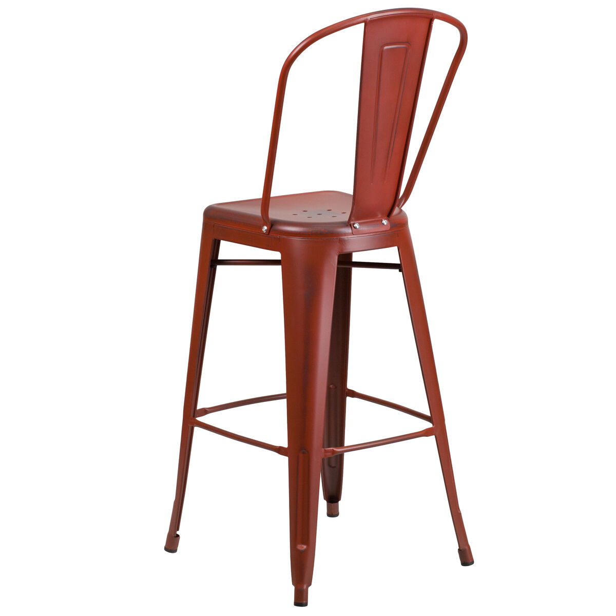 Distressed Red Metal Stool Et 3534 30 Rd Gg Bizchair Com