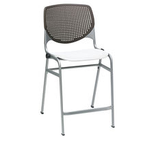 KOOL Series Stacking Poly Counter Height Stool with Brownstone Perforated Back and Silver Frame - White Seat