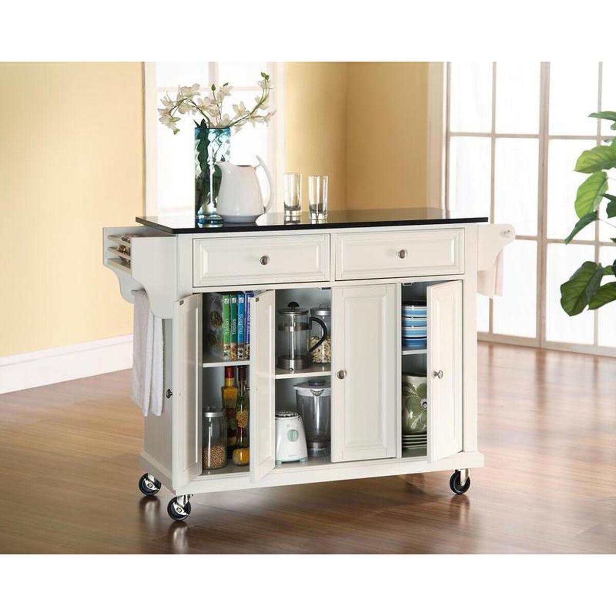 Black Kitchen Units Sale: White Kitchen Island Cart KF30004EWH