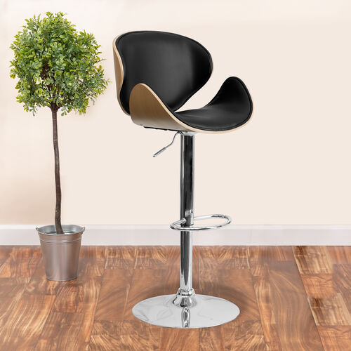 Bentwood Adjustable Height Barstool with Curved Vinyl Seat and Back
