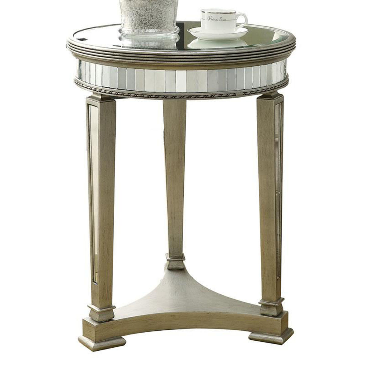 Our Contemporary 20 Diameter Accent Table With Mirror Finish Brushed Silver Is On
