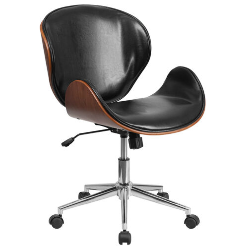 Our Mid-Back Walnut Wood Conference Office Chair in Black LeatherSoft is on sale now.