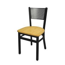 Polk Metal Perforated Back Chair - Natural Wood Seat
