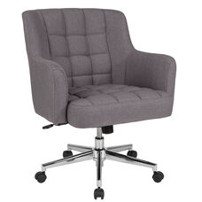 Laone Home and Office Upholstered Mid-Back Chair in Light Gray Fabric