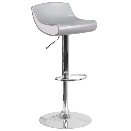 Our Contemporary Silver and White Adjustable Height Plastic Barstool with Chrome Base is on sale now.