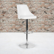 Trieste Contemporary Adjustable Height Barstool in White LeatherSoft
