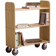 Solid Oak Mobile Book Truck with 3 Flat Shelves - 32