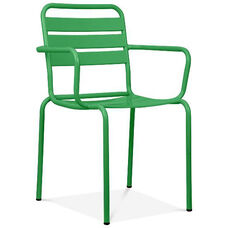 Paris Green Metal Stackable Arm Chair - Set of 4
