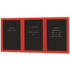 3 Door Indoor Enclosed Directory Board with Red Anodized Aluminum Frame - 36