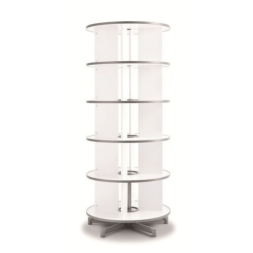 Moll 5 - Tier Spin N File Rotary Binder Storage Carousel for Letter Sized Materials - White