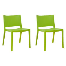 Elio Stackable Sturdy Green Plastic Chair - Set of 2