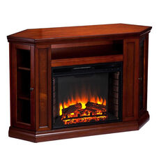 Claremont Corner Convertible Media Center with Glass Storage Doors and Electric Fireplace - Brown Mahogany