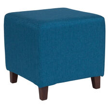 Ascalon Upholstered Ottoman Pouf in Blue Fabric