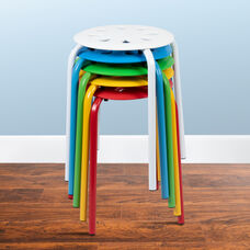 """Plastic Nesting Stack Stools, 17.5""""Height, Assorted Colors (5 Pack)"""