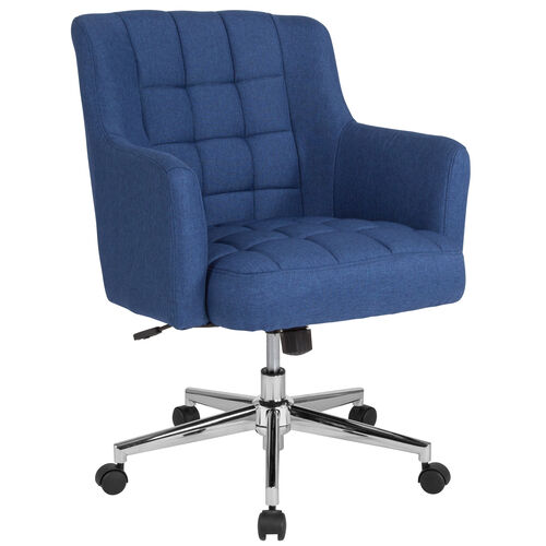 Our Laone Home and Office Upholstered Mid-Back Chair in Blue Fabric is on sale now.