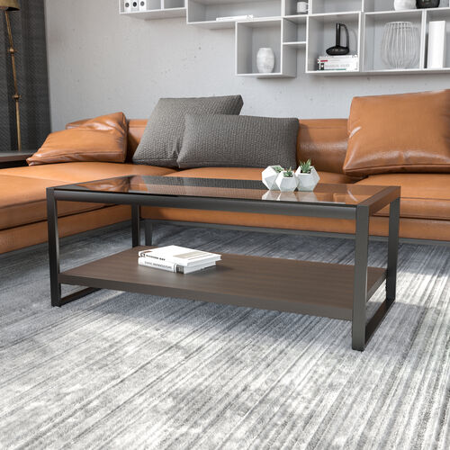 Rosedale Glass Coffee Table with Black Metal Frame
