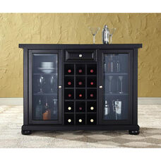Sliding Top Bar Cabinet with Alexandria Style Feet - Black Finish