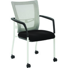 Pro-Line II ProGrid Mesh Back Visitors Chair with Padded Seat with Casters and White Finish Frame - Black