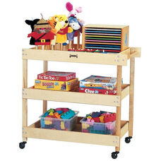 Kids Wooden Mobile Utility Cart with Shelves