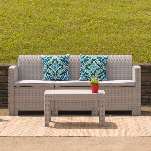 Our Light Gray Faux Rattan Sofa with All-Weather Light Gray Cushions is on sale now.