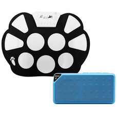 Black and White Electronic Roll-Up Drum Kit with Blue Portable Wireless Bluetooth Enabled Cube Speaker - 10.75