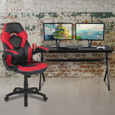 BlackArc Black Gaming Desk and Red/Black Racing Chair Set with Cup Holder, Headphone Hook and Removable Mouse Pad Top - 2 Wire Management Holes