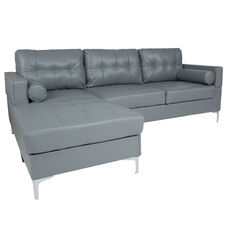 Riverside Upholstered Tufted Back Sectional with Left Side Facing Chaise and Bolster Pillows in Gray LeatherSoft