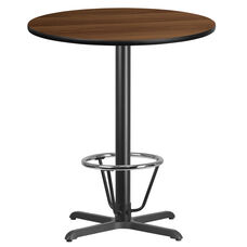 36'' Round Walnut Laminate Table Top with 30'' x 30'' Bar Height Table Base and Foot Ring