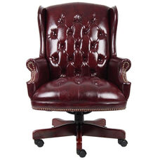 Traditional Button Tufted Wing Back Executive Chair - Oxblood Vinyl
