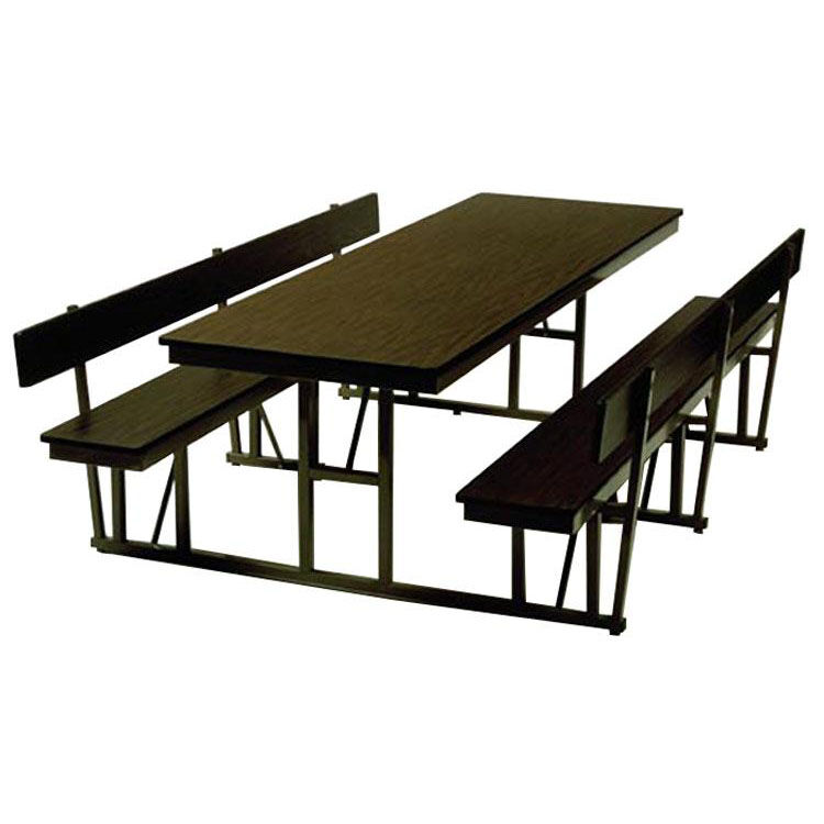 Charmant ... Our Customizable Standard Lunchroom Table With Back Support And Built  In Benches   68u0027u0027