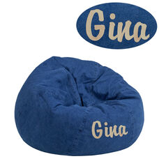 Personalized Small Denim Kids Bean Bag Chair