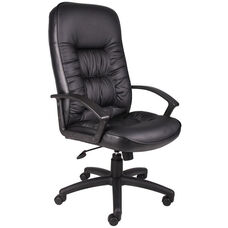 High Back LeatherPLUS Chair with Adjustable Tilt Tension - Black