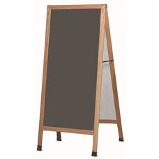 Extra Large A-Frame Sidewalk Board with Slate Colored Porcelain Chalkboard and Clear Lacquer Finished Solid Red Oak Frame - 30