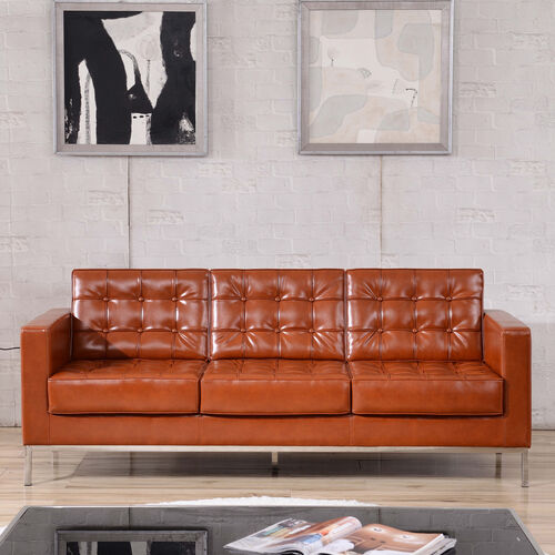 Our HERCULES Lacey Series Contemporary Cognac LeatherSoft Sofa with Stainless Steel Frame is on sale now.