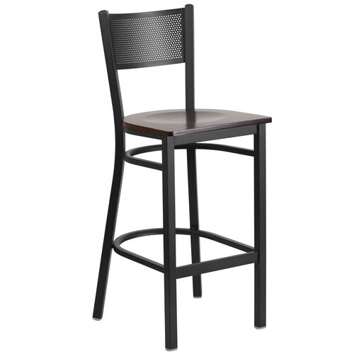 Our Black Grid Back Metal Restaurant Barstool with Walnut Wood Seat is on sale now.