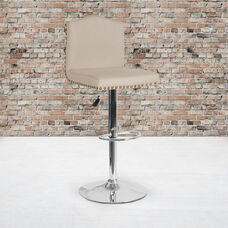 Bellagio Contemporary Adjustable Height Barstool with Accent Nail Trim in Beige Fabric