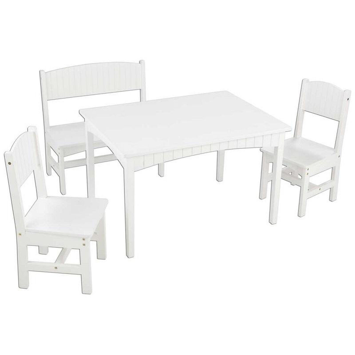 Our Nantucket Four Piece Kids Wooden Square Table With One Bench And Two Chairs White