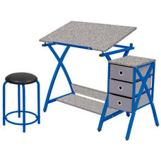 Comet Craft and Storage Center with Stool - Blue and Splatter Gray