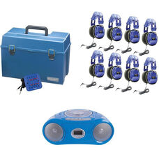 Blue Kid-Friendly Deluxe Headphone Listening Center with Bluetooth Enabled Boombox and Lockable Headphone Storage Case - Set of 8 Headphones