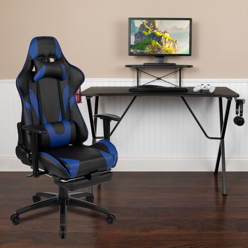 BlackArc Black Gaming Desk with Cup Holder/Headphone Hook and Monitor/Smartphone Stand & Blue Reclining Gaming Chair with Footrest