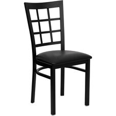 Black Window Back Metal Restaurant Chair with Black Vinyl Seat