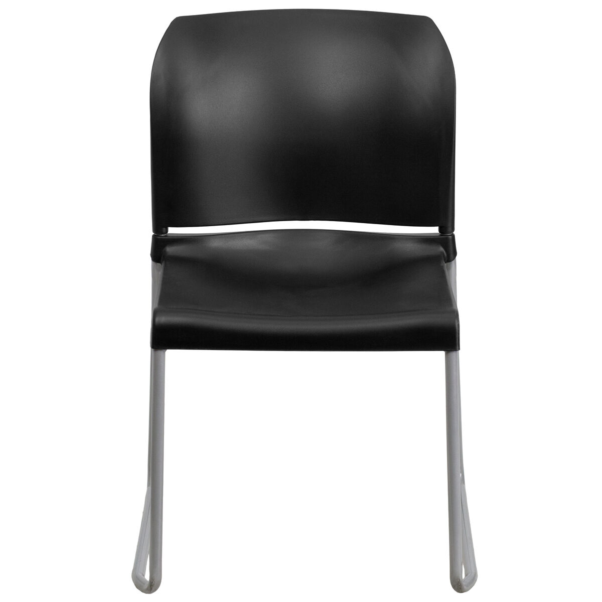 Our Hercules Series 880 Lb Capacity Black Full Back Contoured Stack Chair With Sled Base